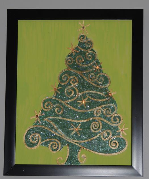 DIY Light Up Glitter Christmas TreePainting