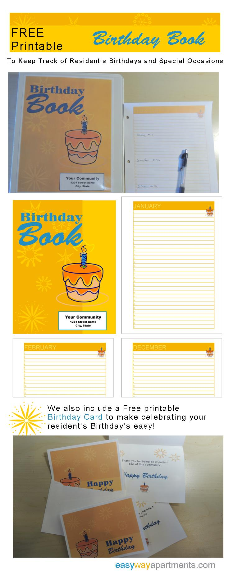 Birthday Book_ Keep track of resident's birthdays with this FREE printable from EasyWayApartments