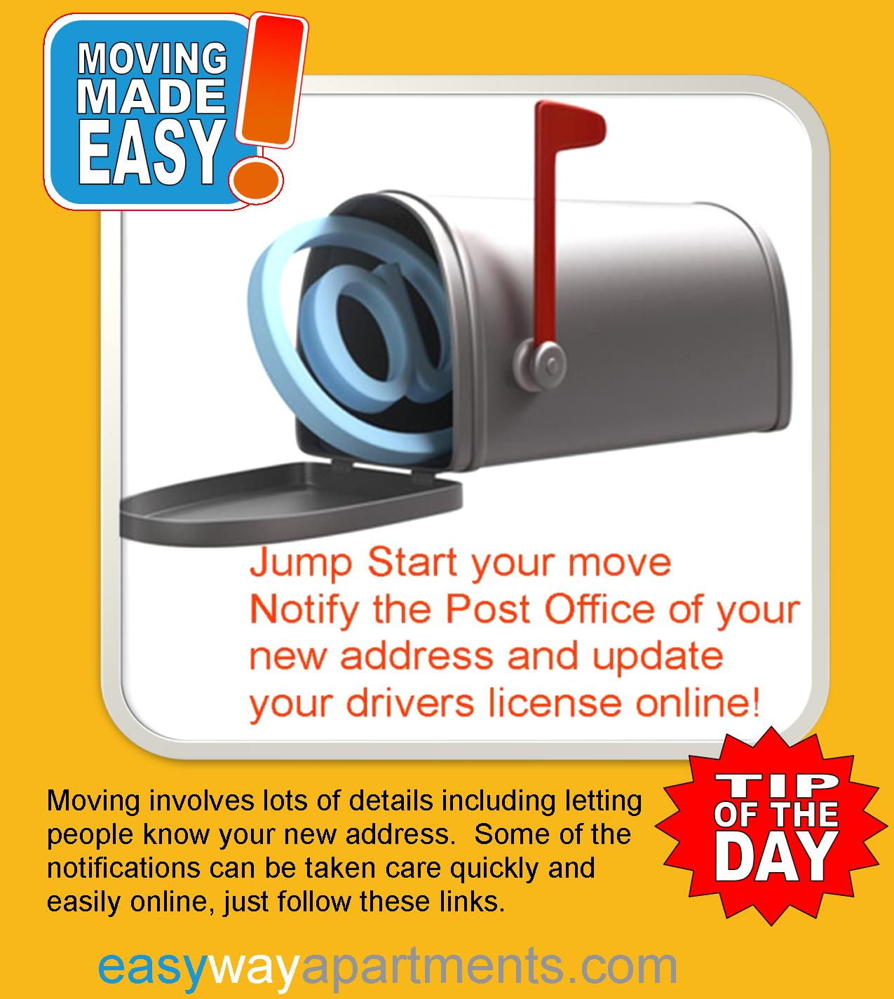 Handy links to the #Post Office and #Drivers License #change of address forms, plus more change of address tips for your upcoming move
