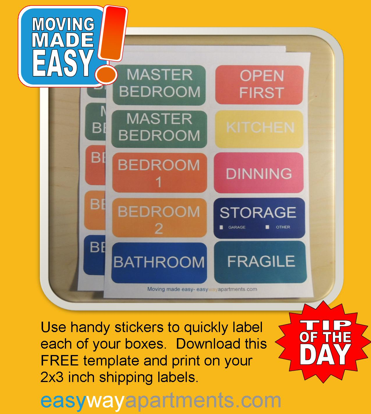 Free Stickers to Make Labeling Your Moving Boxes Quick and Easy