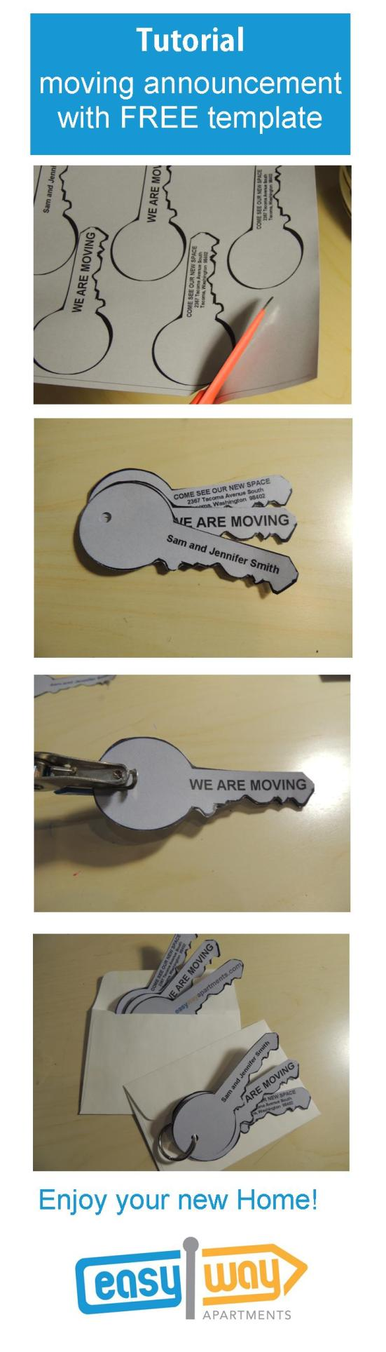 Tutorial and FREE printable  key shaped moving announcements from easywayapartments