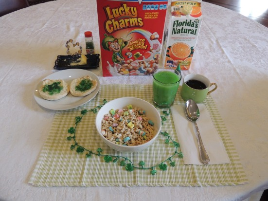 Ridiculously Easy St. Patrick's Day  Breakfast Add a few drops of food coloring to some orange juice, pour a bowl of lucky charms and top some toast with some green colored sugar, instant St. Patrick's Day charm.   from #EasyWayApartments