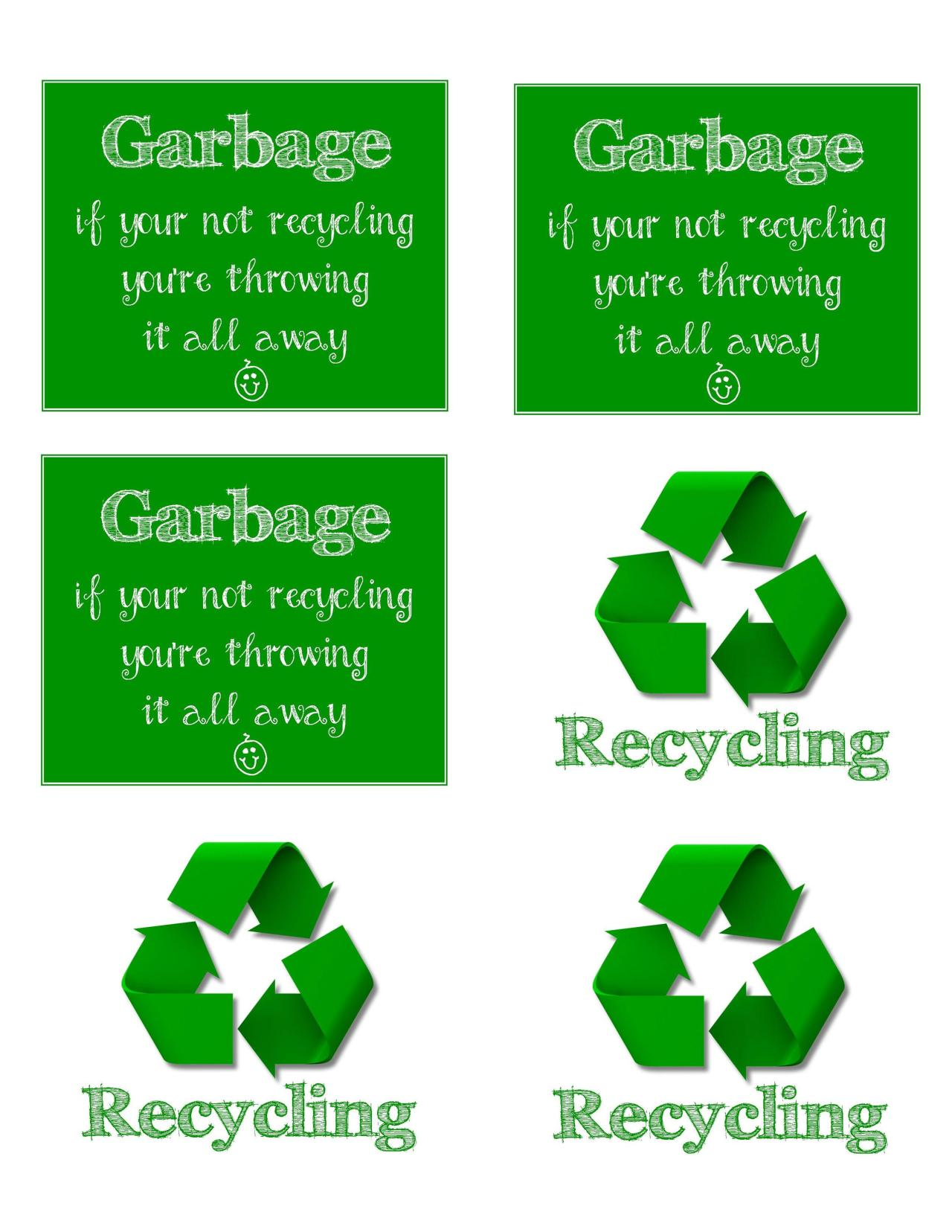 FREE Printable Recycling and Garbage Signs