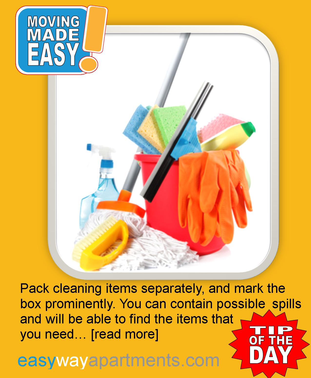 Tips for an Easy Move | Pack Your Cleaning Supplies in oneBox