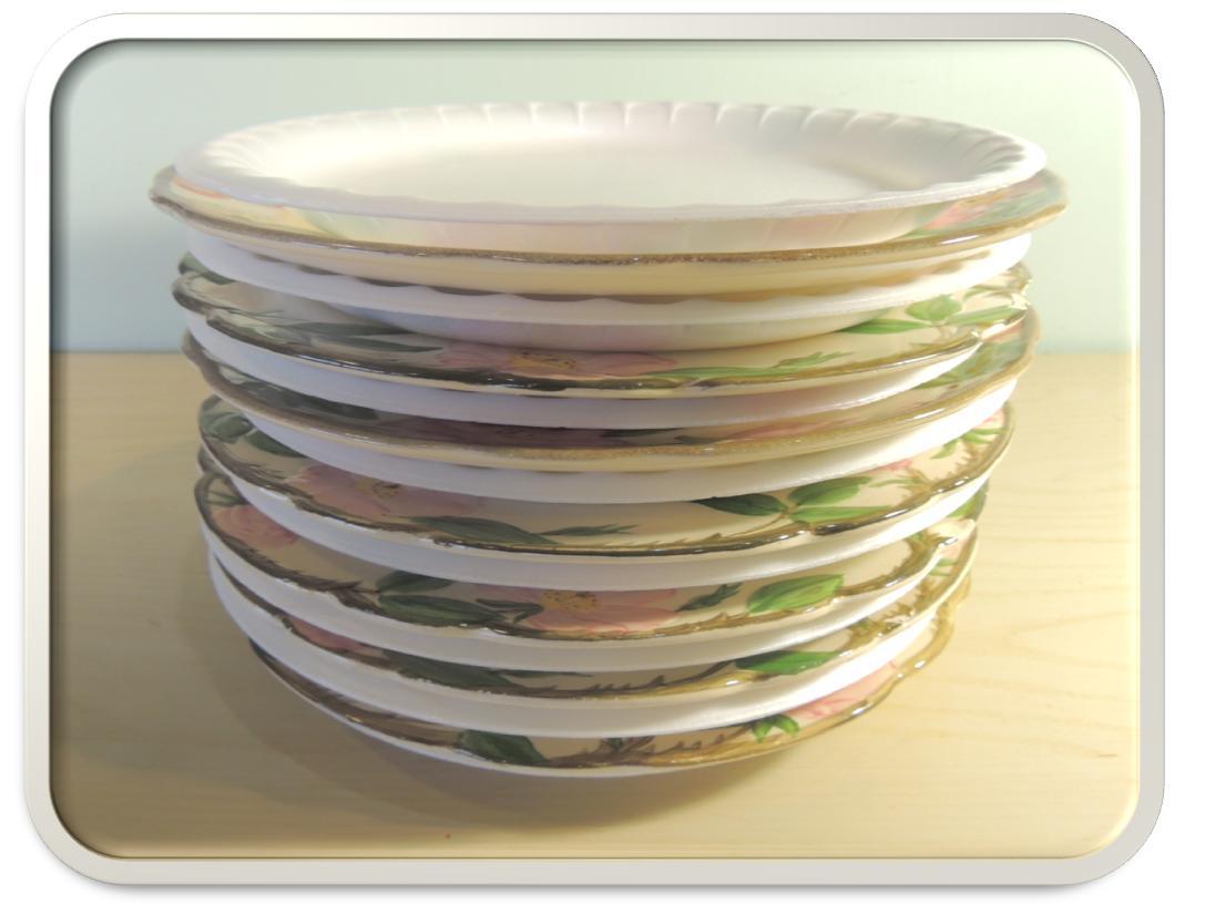 stack china between styrofoam plates