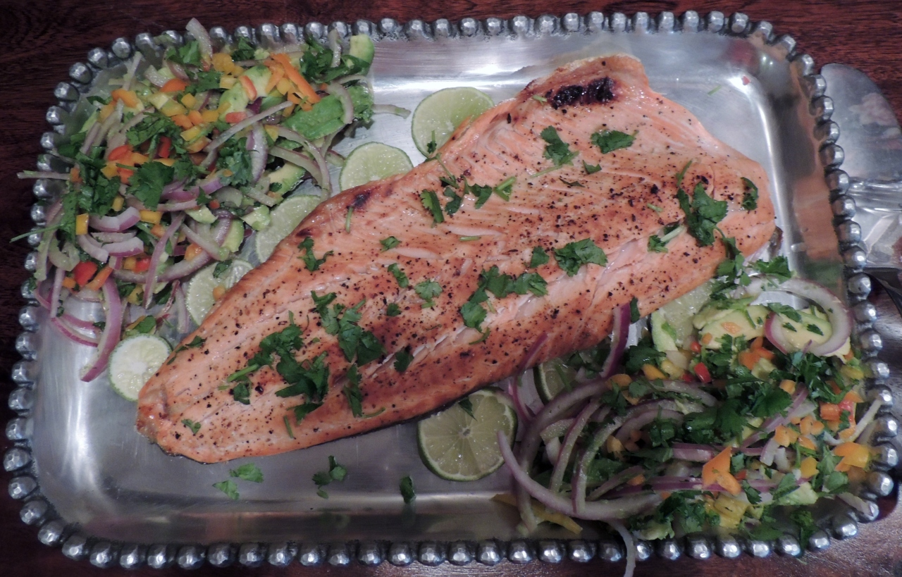Salmon with Avocado, Red Onion and Lime Salsa