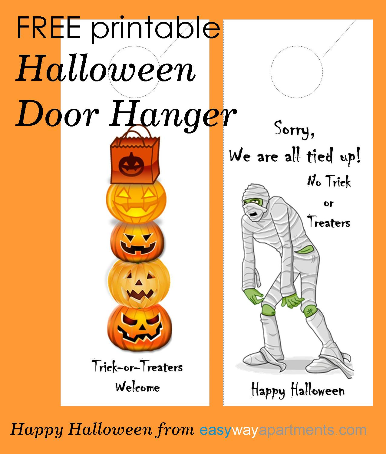 picture about Free Printable Door Signs called No cost printable Halloween Doorway Hanger For Your Rental