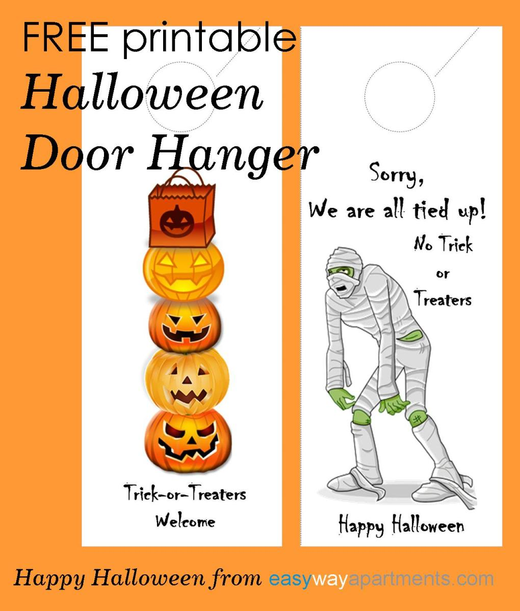 free printable halloween door hanger for your apartment