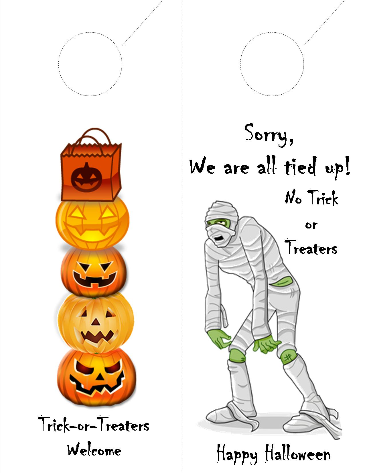 Halloween trick or treaters doorhanger with dotted lines