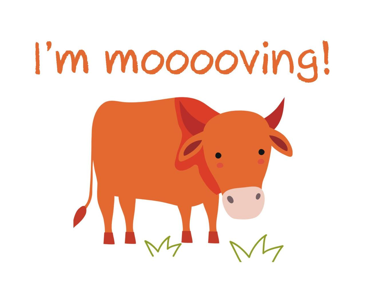 Moving announcement Change of address card Free Printable i m mooooving