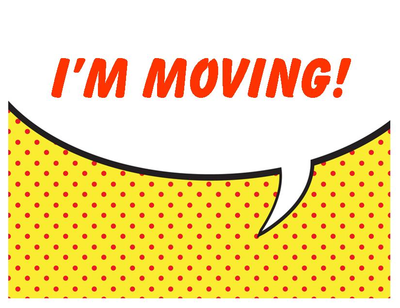 Moving announcement Change of address card Free Printable I m moving polka dot
