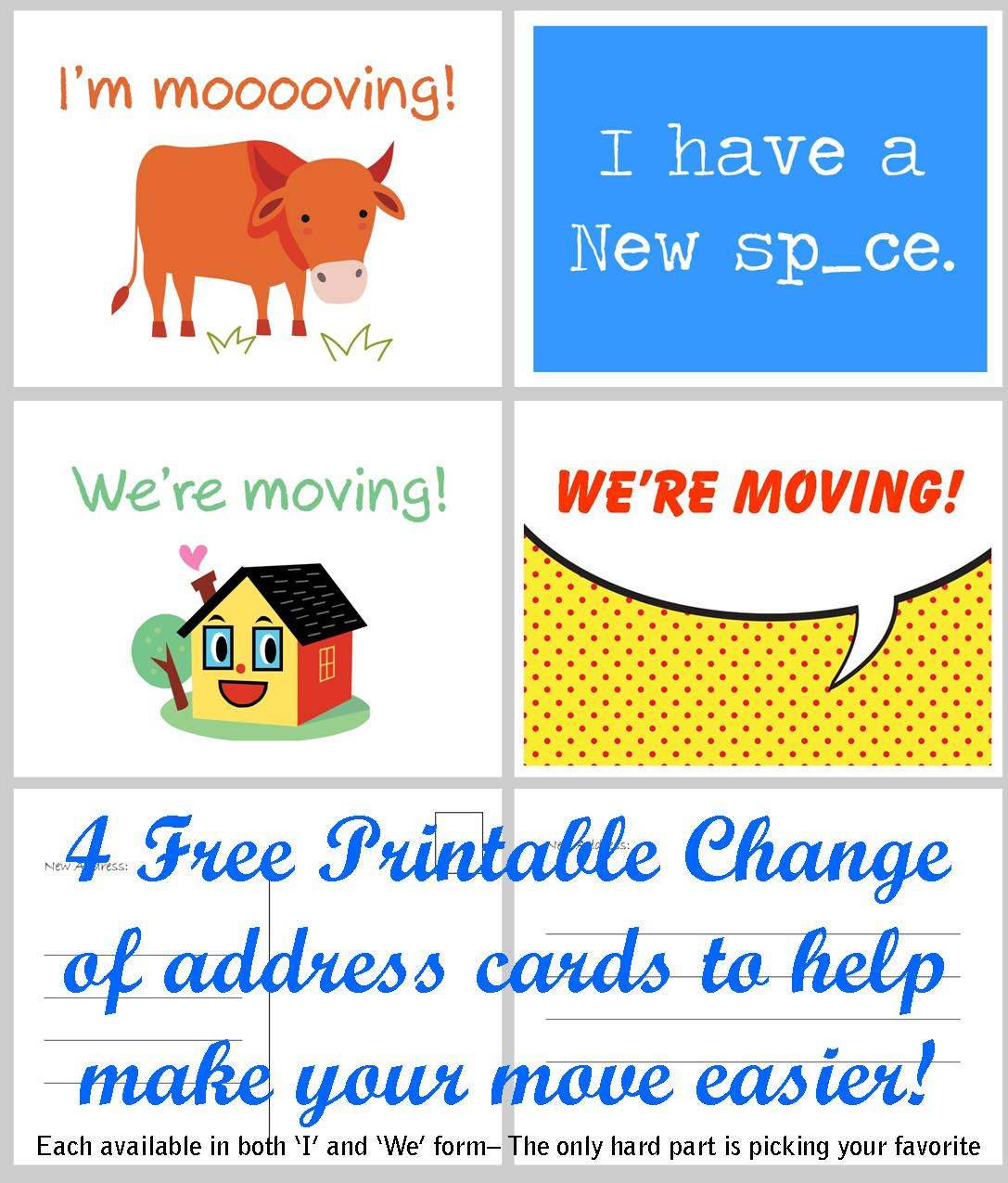 Moving Announcement Change Of Address Card Free Printables 4 Styles To  Choose From  Free Change Of Address Form