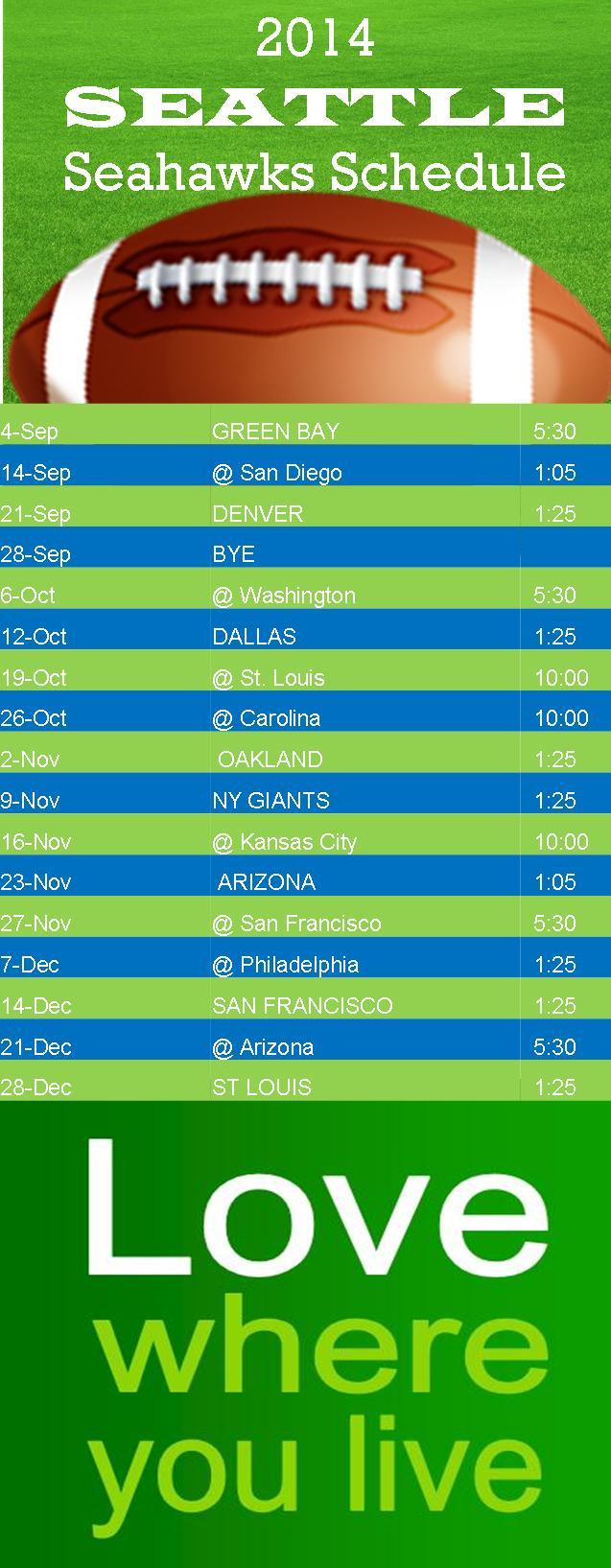seahawks 2014 schedule 2